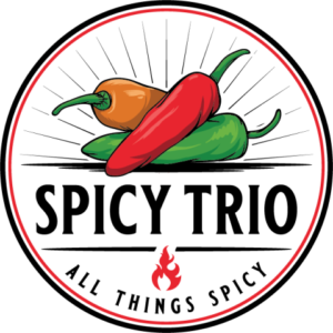 Spicy Trio Logo: Three chili peppers, red, orange, green with a little flame